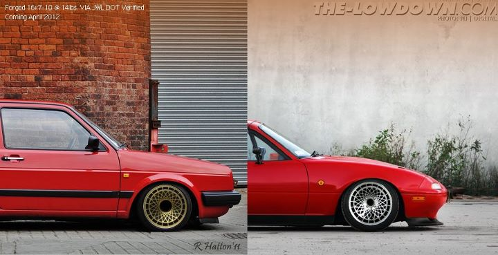 MemoryFab Retro Turbo Wheels Rendering on VW and Miata